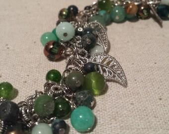 green glass bracelet beaded bracelet charm bracelet