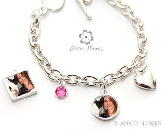 Photo Charm Bracelet Kit with Swarovski Brithstone and Heart Charm.