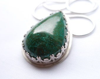 Ornate Green Chrysocolla necklace - ONE of a KIND, sterling silver chysocolla necklace, emerald green necklace, sterling silver necklace