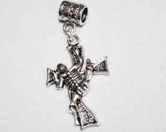 Biker Style Skeleton & Cross Lrg Hole Bead Fits All European, all Add a Bead Charm Bracelet Jewelry AAB-BI005
