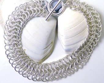 Sterling Silver Euro 6 in 1 Chainmaille Bracelet