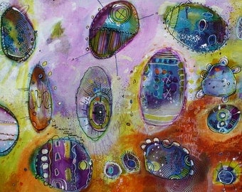 Purple and Brown Abstract Painting size 24 x 18 Contemporary Mixed media work by Jodi OHl