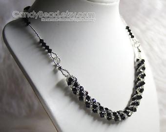 Swarovski Necklace, Black Twisty Swarovski Crystal Silver Necklace