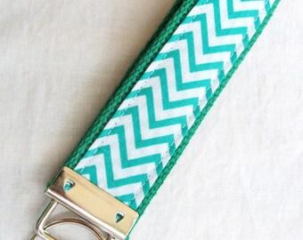 Wristlet Key Fob Key Chain - Mini Kelly Green Chevron Zig Zag Stripe - Fabric Keychain