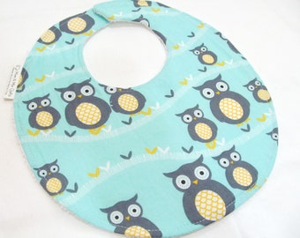 Boutique Bib for Baby or Toddler Boy or Girl - Sweet Baby Owls, Neutral Modern Essentials - Cotton Bib with velcro closure