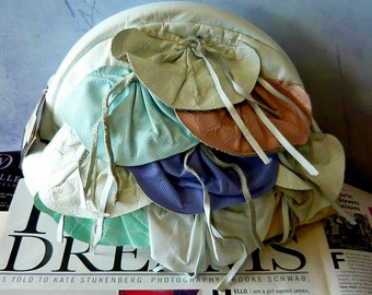 Vintage La Bon Leather Bag Clutch Crossbody Shoulder Purse 80s NEVER Worn USA Pink Aqua Lavender Appliques