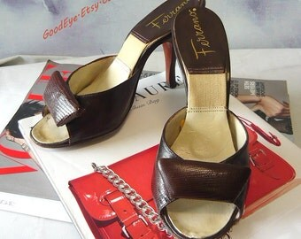 Vintage Peep Toe Springolator Shoes size 5 /  Eu 35 UK 2.5 FERRANO of Italy / 50s Lizard Sandals Brown High Heel Mules