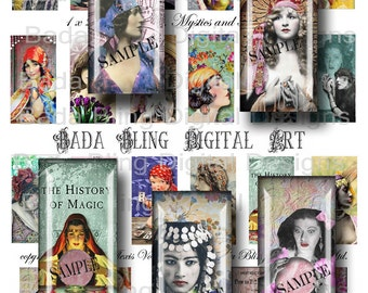 Gypsies, Mystics,Fortune Tellers, 1 x 2 collage sheets, for resin, glass tiles, soldered pendants, INSTANT  Digital Download,boho jewelry