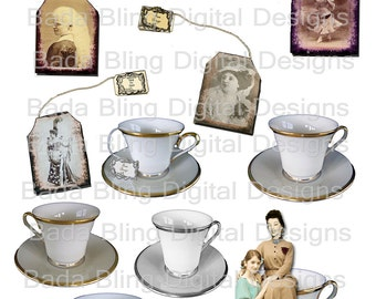 Meet the Tea Bags... altered art, digital collage sheets,  INSTANT  Digital Download at Checkout