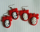 VICTORIAN LADY SKELETON Red Plastic Cameo Earrings Gothic Lolita Jewelry Spooky Halloween Black Gray White