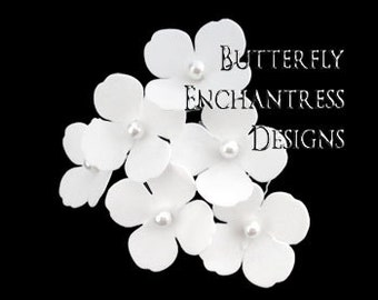 Bridal White Hair Flowers, Beach Wedding Hair Accessories - 6 Diamond White Adora Hydrangea Hair Pins - Pearl Centers