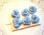 PUSHPin Sky Blue Handmade Clay Roses Set of 6 Thumbtacks SVFteam ECS sct schteam