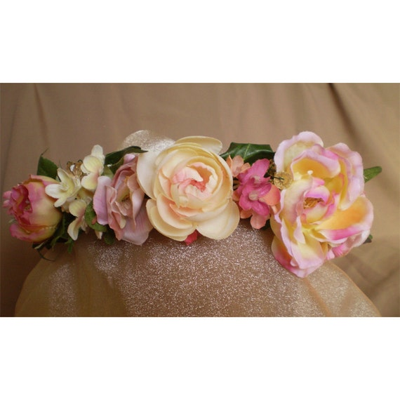 floral head wreath bridal crown flower halo renaissance faerie costume women's accessories easter ostara