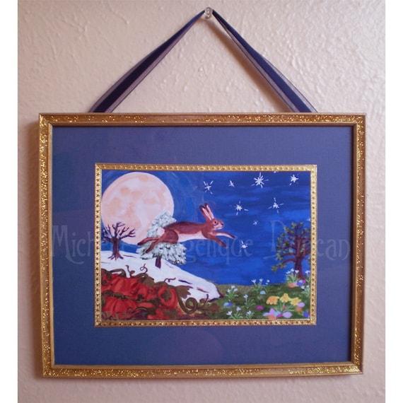 Framed print acrylic painting fantasy art animal magic rabbit hare seasons painting Oschter Haws