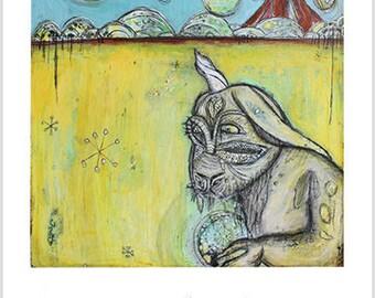 "Print- ""The Guardian #3"" - Mixed Media Art, Magical Creatures Art, Bohemia, Boho, Spirit Guides, Forest Spirits, Nature Art"