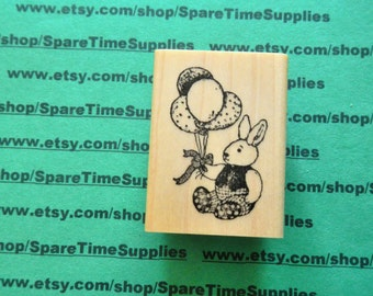 DEL-E551 Balloon Bunny - Mounted Rubber Stamp