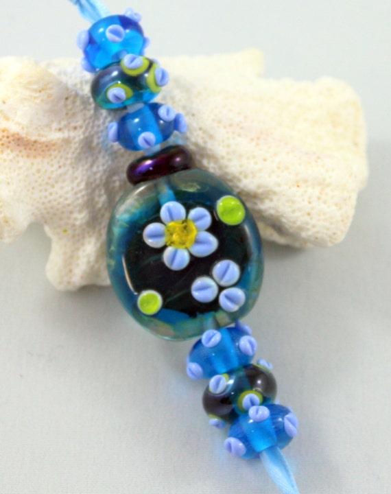 lampwork bead set blue glass beads floral glass beads