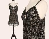 Vintage 60s Slip / Black Lace Slip / Greenco Maid Half Slip