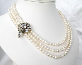 Rhinestone Pearl Necklace, Silver Tone Vintage Rhinestone Accent, 3 Strand White Pearls, Light Ivory Freshwater Pearls, Handmade, Christine