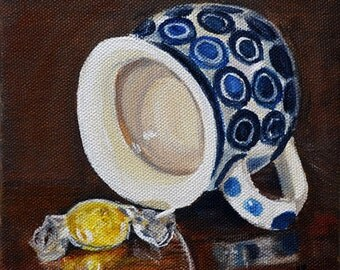 Polish Pottery mug, kitchen art print ,blue and white pottery ,kitchen wall decor, candy still life art, Fine art giclee print , mat OPTION