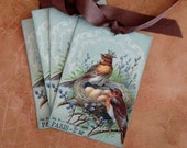 Bird Tags - French Bird Tags - Vintage Bird Nest Tags - Bird King, Crown, Paris Tags - Set of 4