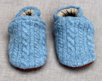 Cloudy Day Blue Cable Knit Wool Slippers Leather Bottom Baby Slippers fits 12-18 months old  made from recycled materials
