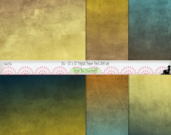 "12 x 12"" Grungy Blue and Gold Digital Scrapbook Background Paper Instant Download Set of 6 Digital Prints JPEG Commercial Use 1605"