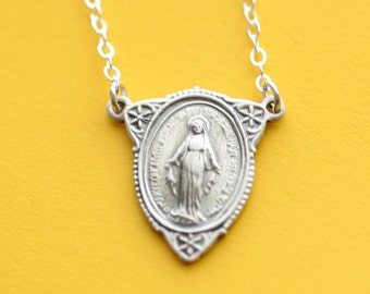 Miraculous Medal - Virgin Mary - Sterling Silver Necklace