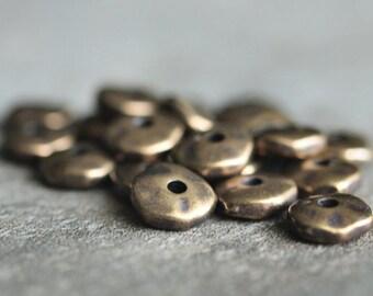 TierraCast 7mm Nugget Heishi Brass Oxide : 20 pc Brass Spacer Beads
