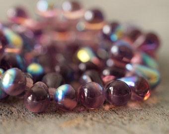 Amethyst AB Czech Glass 4x6mm Teardrop Bead :  50 pc
