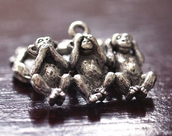 Three Monkeys Antiqued Pewter Charm : 2 pc
