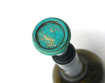 Turquoise & Gold Antique Wine Stopper