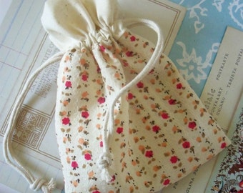 Two / Floral Cotton Fabric Drawstring Bags / Gift Bags / Party Favors