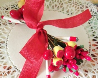 Vintage Millinery / Double Ended Stamens / Variety / Replacement Candles and Noses for Vintage Christmas Decorations