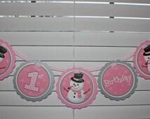 Girl Snowman Birthday Banner / Snowman Birthday Banner / Girl Snowman Banner / Snowman Banner / Snowman Birthday Party / Winter Onederland
