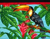 Toucan Quilted Wall Hanging, Jungle, Flowers, Tropical