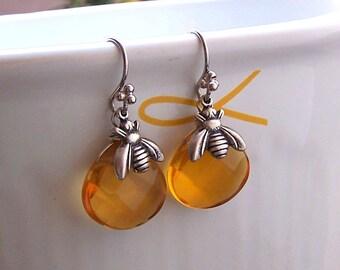 Bee Earrings – Antiqued Silver, Honey Bee Charm Earrings, Animal jewelry, Topaz Quartz Stone, Yellow Stone Jewelry- 5039