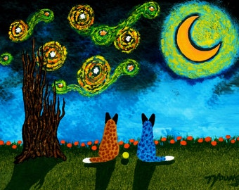 Australian Cattle Dog LARGE folk art print by Todd Young STARRY SKY