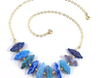 Lampwork necklace, Handmade Glass necklace, Handcrafted glass necklace, Birds necklace in turquoise and purple,14k Gold-Filled SRA