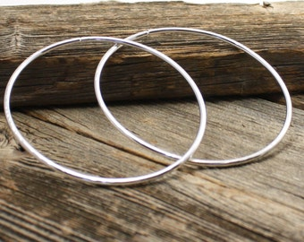 12 Gauge Sterling Silver Hoop Earrings for Stretched Piercings