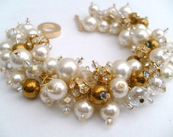 Ivory Pearl Bridal Jewelry, Wedding Jewelery, Pearl Bridesmaid Bracelet, Pearl and Rhinestone Bracelet, Cluster Bracelet, Chunky Bracelet