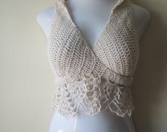 Wrap top, cropped top, festival top, crochet, wrap vest, halter top, crisscross top, crisscross vest, gypsy vest, boho top