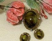 West Germany Brown Green Porphyry Glass Cabochon & Rhinestone Brooch Pin Earrings Set