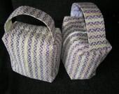 Handspun handwoven zipped box bag, knitting, Crocus Stripe