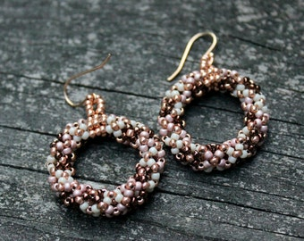Brown, Cream and Pink Hoop Earrings