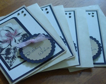 Handmade note cards-Happy Birthday Cards-Set of 4-greeting card