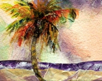 ACEO Beach Palm Tree, Beach, Tropical Watercolor Collage, Original Small Seascape, Friend Gift, Desk Art, Office Gift, Tiny Art, Beach Bath