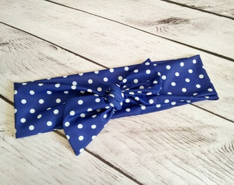 Retro Blue & white polka dot womens headband wrap to match your swimsuit