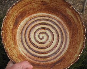 Serving Bowl Rocky Mountain with Swirl - Handmade Pottery