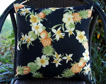 Tahitian Breeze Sun Porch Patio Pillow in Black / tropical pineapple pillow/ indoor outdoor / Caribbean islands / beach house / Tommy Bahama